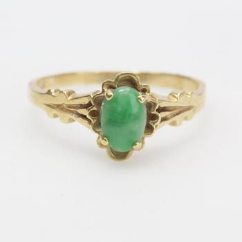13k Gold 2.55g Ring With Green Stone