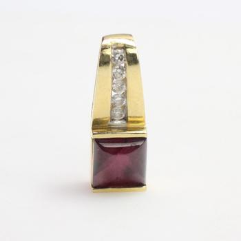 13k Gold 3.18g Pendant With Diamonds And Purple Stone