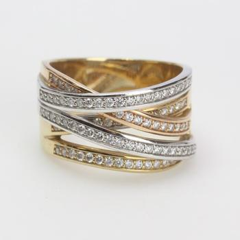 13k Two Tone Gold 12.60g Ring With Diamonds