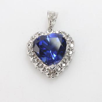 13k White Gold 3.16g Pendant With Blue And Clear Stones