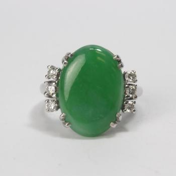13k White Gold 6.51g Ring With Diamonds And Green Stone