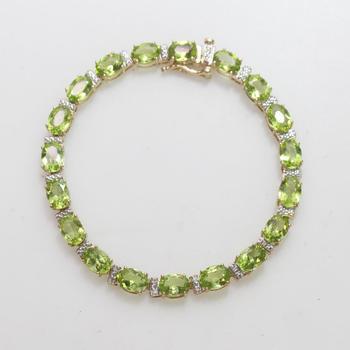 13kt Gold 10.4g Bracelet With Green Stones