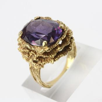 14kt Gold 4 4g Green Stone Frog Ring With Purple Stone Accent