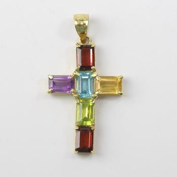 13kt Gold 2.26g Cross Pendant With Multicolored Stones