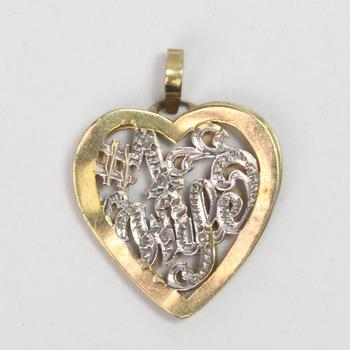 13kt Gold 2.97g Heart Shaped '#1 Wife' Pendant