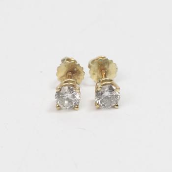 13kt Gold .7g Diamond Earrings