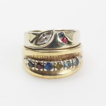 13kt Two-toned Gold 10g Diamond And Stone Ring