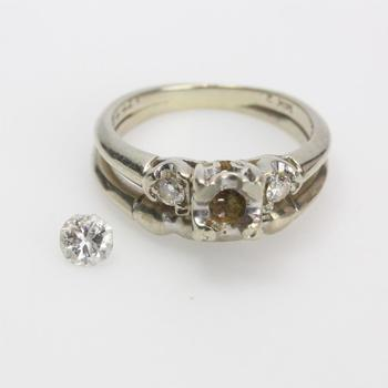 13kt White Gold 4.02g Wedding Band With Diamond Accents And Loose Center Stone
