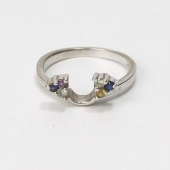 13kt White Gold 4g Ring With Multi-colored Stones