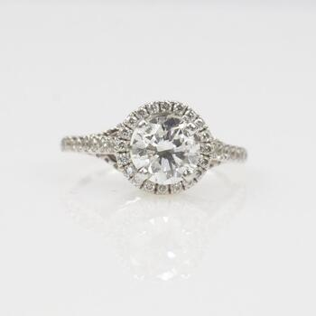1.41ct TW IGI Certified Diamond 14k White Gold Ring - Evaluated By Independent Specialist