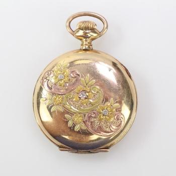 14k GF Elgin Pocket Watch With Diamond Accent