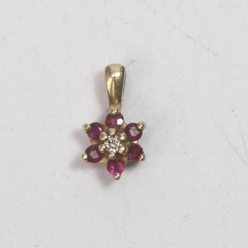 14k Gold 0.68g Pendant With Diamond And Pink Stones