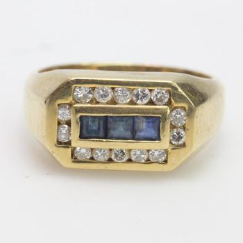 14k Gold 10.19g Ring With Diamonds And Blue Stones