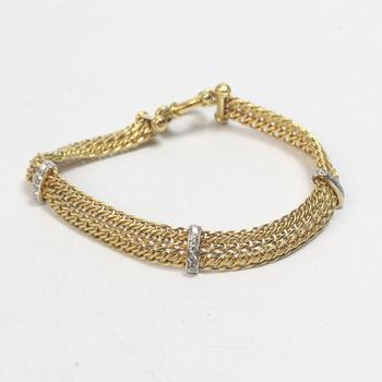 14k Gold 10.32g Bracelet With Clear Stone Accents