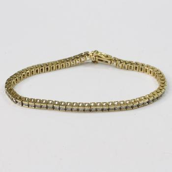 14k Gold 11.42g Bracelet With Clear Stones