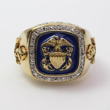 14k Gold 14.68g US Navy Ring With Clear Stone Accents