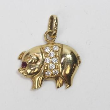 14k Gold 1.57g Pig Pendant With Red And Clear Stones