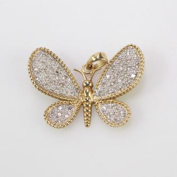 14k Gold 2.41g Butterfly Pendant With Diamonds