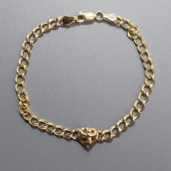 14k Gold 3.79g Bracelet With Heart Pendant