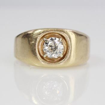 14k Gold .50ct Diamond Signet Ring, 5.83g