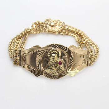 14k Gold 58.72g Bracelet With Red Stone