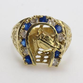 14k Gold 6.32g Ring With Blue And Clear Stones