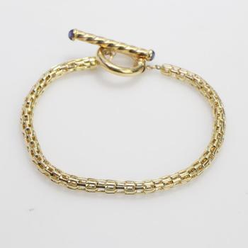 14k Gold 6.37g Bracelet With Light Blue Stone Accents