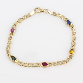14k Gold 6.74g Bracelet With Multicolored Stones