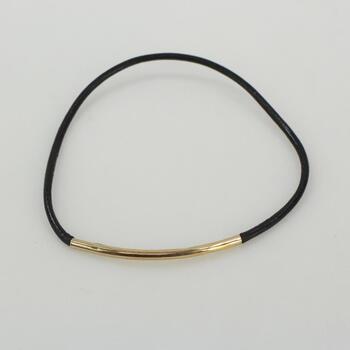 14k Gold Bracelet And Black Band .9g