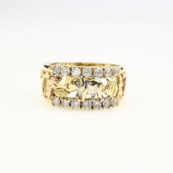 14k Gold Clear Stone Ring