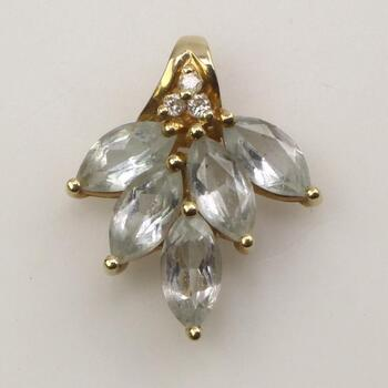 14k Gold Diamond Clear Stone Pendant