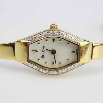 14k GP Bulova Watch With Diamond Accents