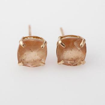 14k Rose Gold 0.68g Earrings With Pink Stones
