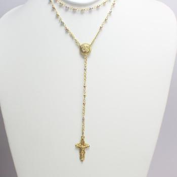 14k Tricolored Gold 15.07g Rosary Necklace