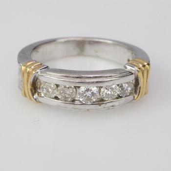 14k Two Tone Gold 5.85g Diamond Ring