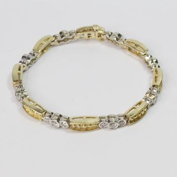 14k Two-Toned Gold 2.00ct TW Diamond Bracelet - Evaluated By Independent Specialist
