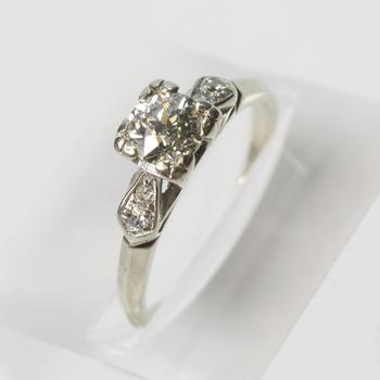 14k White Gold 0.85ct TW European Cut Diamond Ring - Evaluated By Independent Specialist