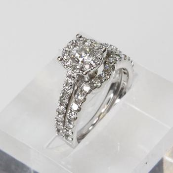 14k White Gold 1.49ct TW  Diamond Wedding Ring Set - Evaluated By Independent Specialist