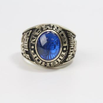 14k White Gold 19.45g Class Ring With Blue Stone