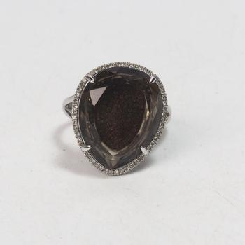 14k White Gold 7.45g Ring With Diamonds And Brown Stone