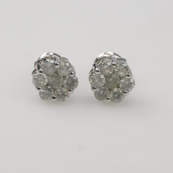 14k White Gold .84ct TW Diamond Earrings