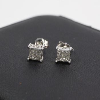 14k White Gold Diamond Earrings, 1.14g