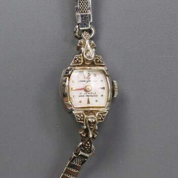 14k White Gold Henri Gireaux Vintage Watch