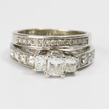 14kt And 10kt White Gold 1.82ct TW Diamond Wedding Ring Set - Evaluated By Independent Specialist