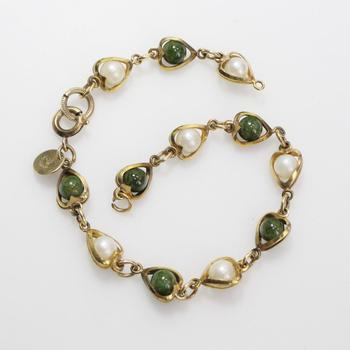 14kt GF 6g Bracelet With White And Green Stones