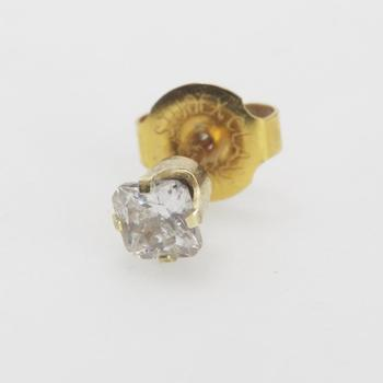 14kt Gold 0.40g Single Earring With Clear Stone