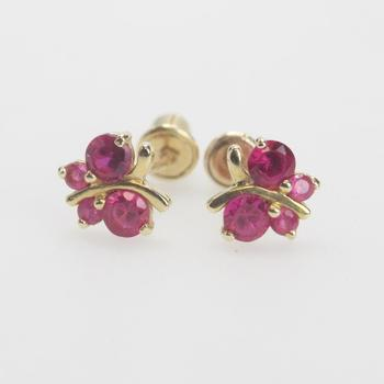 14kt Gold 0.46g Pair Of Butterfly Shaped Earrings With Red Stones