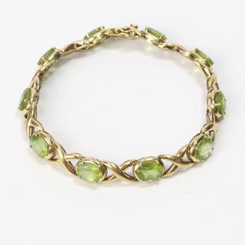 14kt Gold 14.49g Bracelet With Green Stones