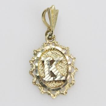 """14kt Gold 1.4g """"K"""" Pendant"""
