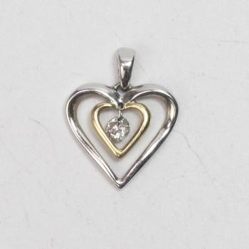 14kt Gold 1g Heart Pendant With Clear Stone